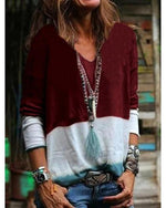 Women V Neck Long Sleeve Print Casual Blouses