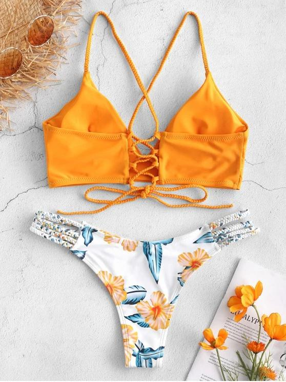 Lace-Up Braided Flower Bikini Set