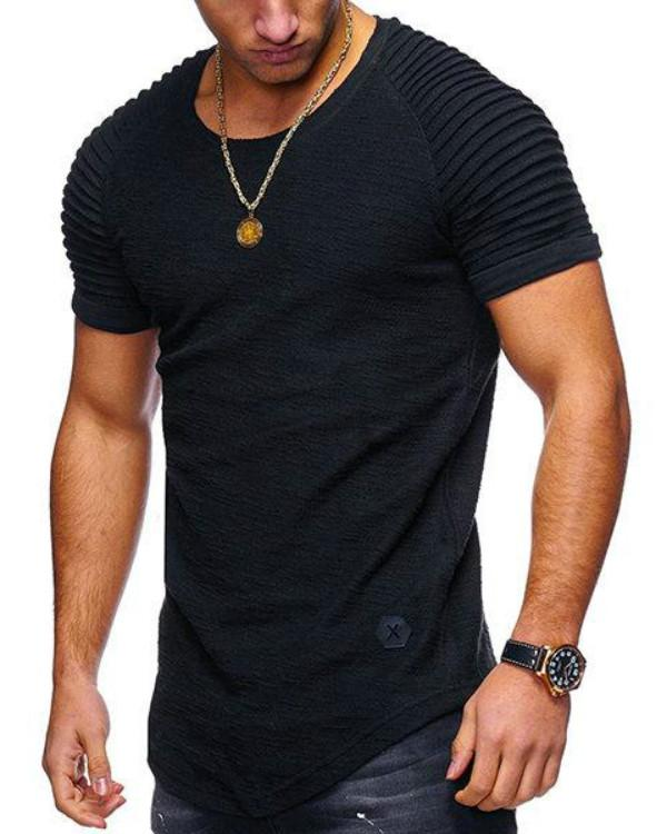 Men's Summer Breathable Irregular Hem O-neck Short Sleeve Slim T-shirt