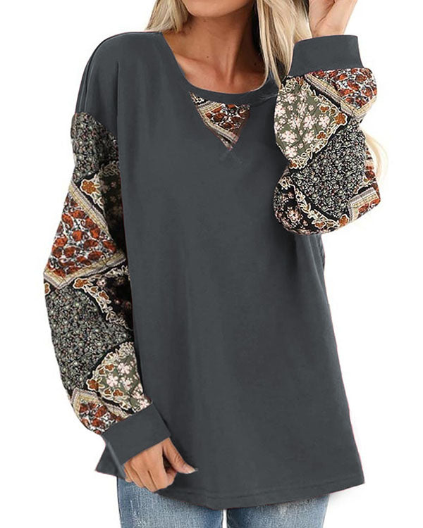 Dark Olive Patched Floral Quilt Print Blouses Long Sleeve Top