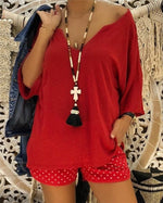 Vintage Women V neck Plus Size Chic Blouse