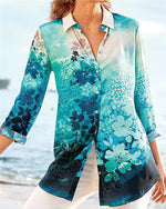 Stand Collar Summer Floral Printed Women Holiday Blouse