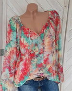 V Neck Casual Women Floral Printd Blouse