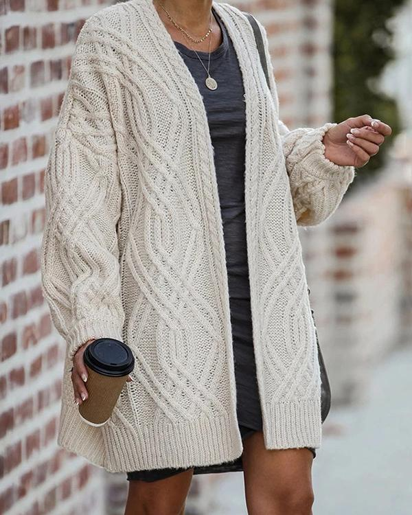 Casual Plus Size Soft Solid  Sweater Coats