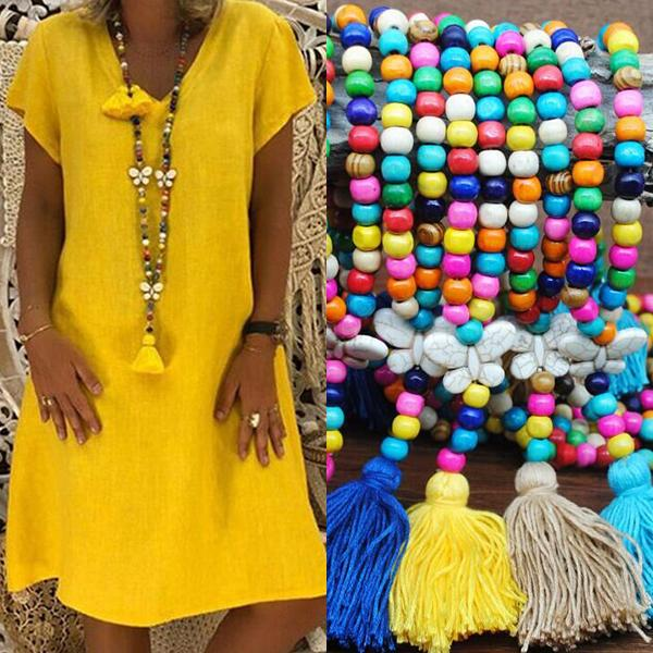 Women's Vintage Boho Tassel Beads Long Necklace