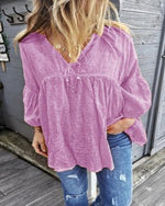 Plus Size V-neck Long Sleeve Solid Shirts Tops