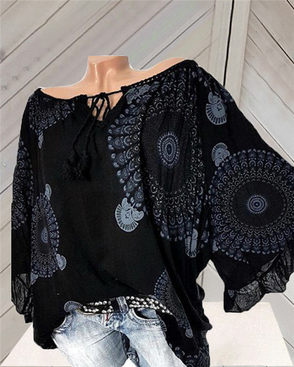 Round Neck Printed Loose Sleeve T-Shirts