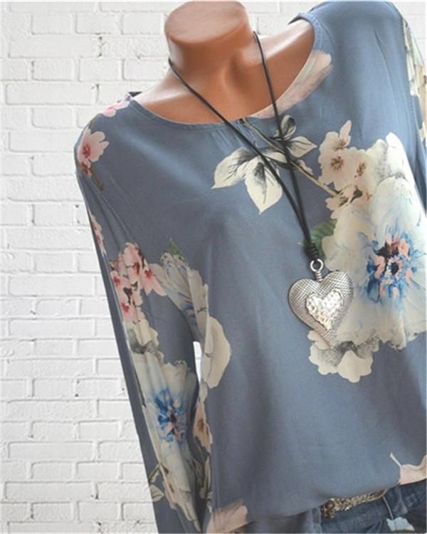 Floral Printed Crew Neck Plus Size Women Tops Blouse