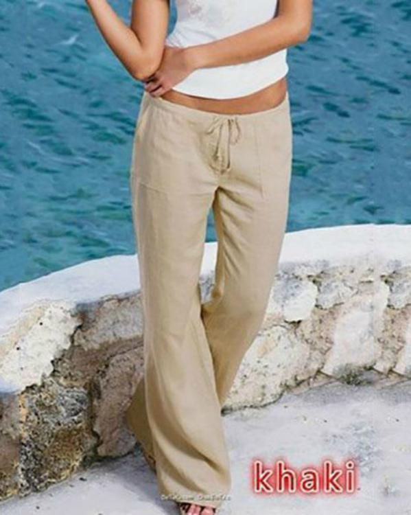 Plus Size Loose Cotton Drawstring Pants With Pockets