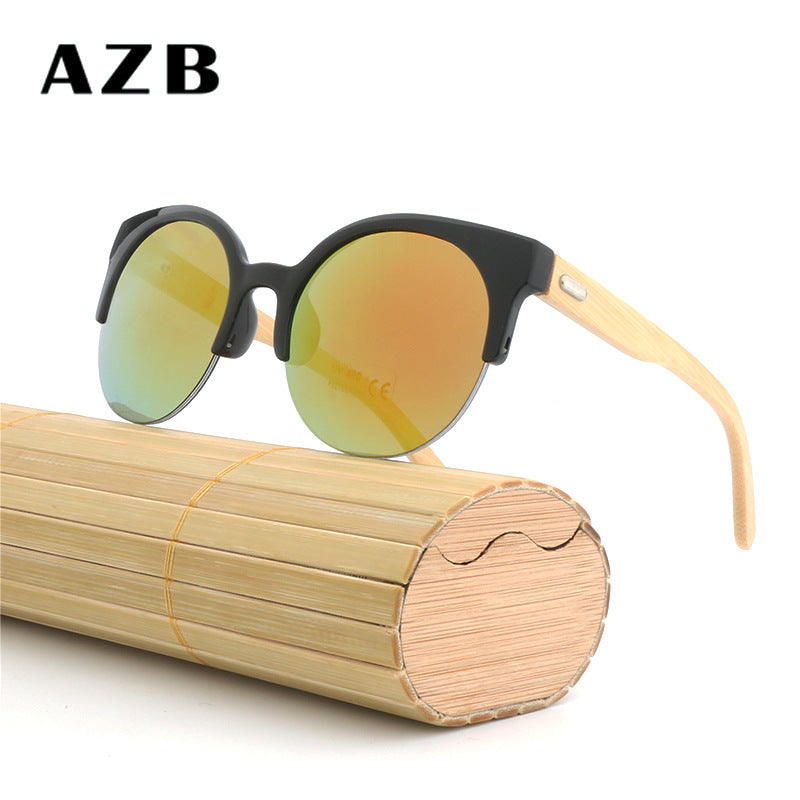 Cat Eyes Fashion Unisex  Bamboo Frame Sun Glasses