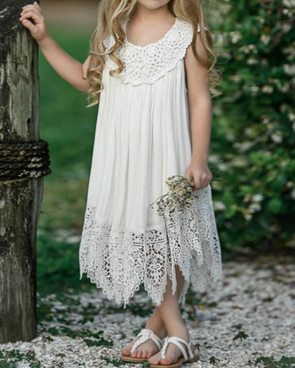 Kids Girls' Sweet Daily Solid Colored Lace Sleeveless Maxi Dress