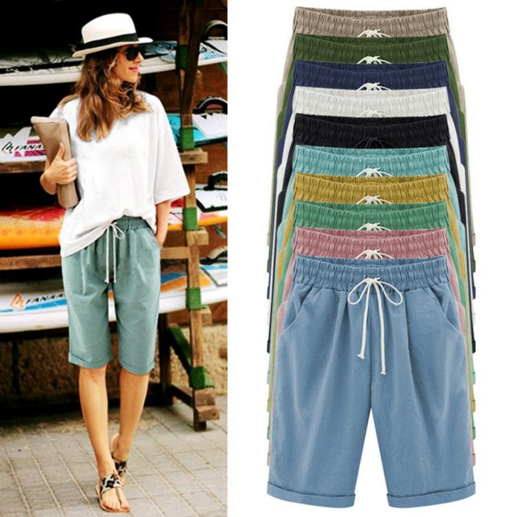 Summer Shorts Lace Up Elastic Waistband Loose Solid Pants