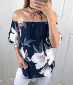 Off Shoulder Shirt Women Top Tees Floral Printed Blouse