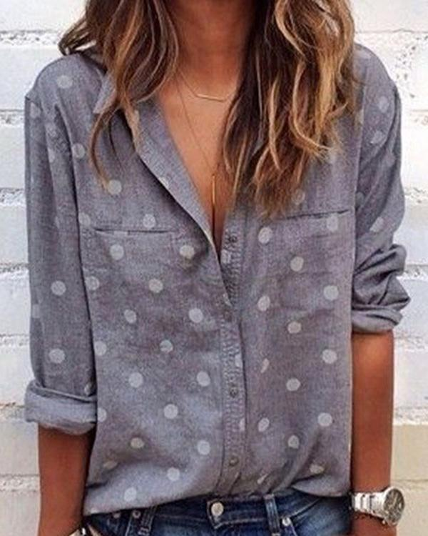 Womens Clothing Long Sleeve Polka Dots Shirts