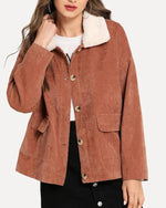 Corduroy Plush Patchwork Solid Color Coat For Women