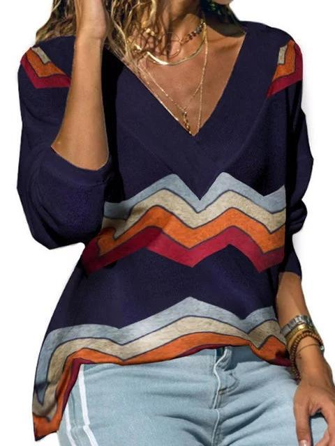 Long Sleeve Abstract Printed V Neck Sweaters