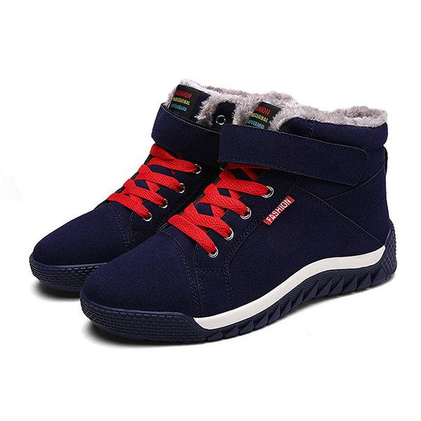 Suede Warm Plush Lining Lace Up Hook Loop Winter Casual Boots