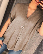 V Neck Basic Summer Short Sleeve Women Casual Blouse
