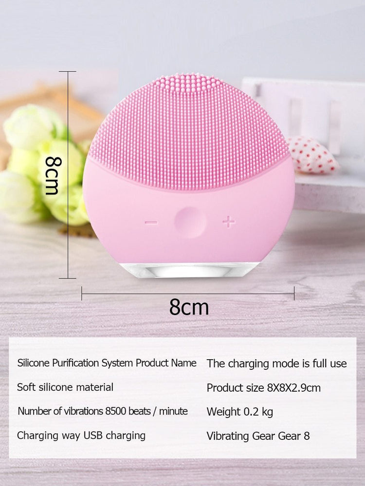 Mini Face Cleaner Ultrasonic Pulse Silicone Electric Cleansing Apparatus