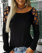 Plus Size Shirts Women Casual Hollow-Out Shoulder Long Sleeve T Shirts Blouse Tops