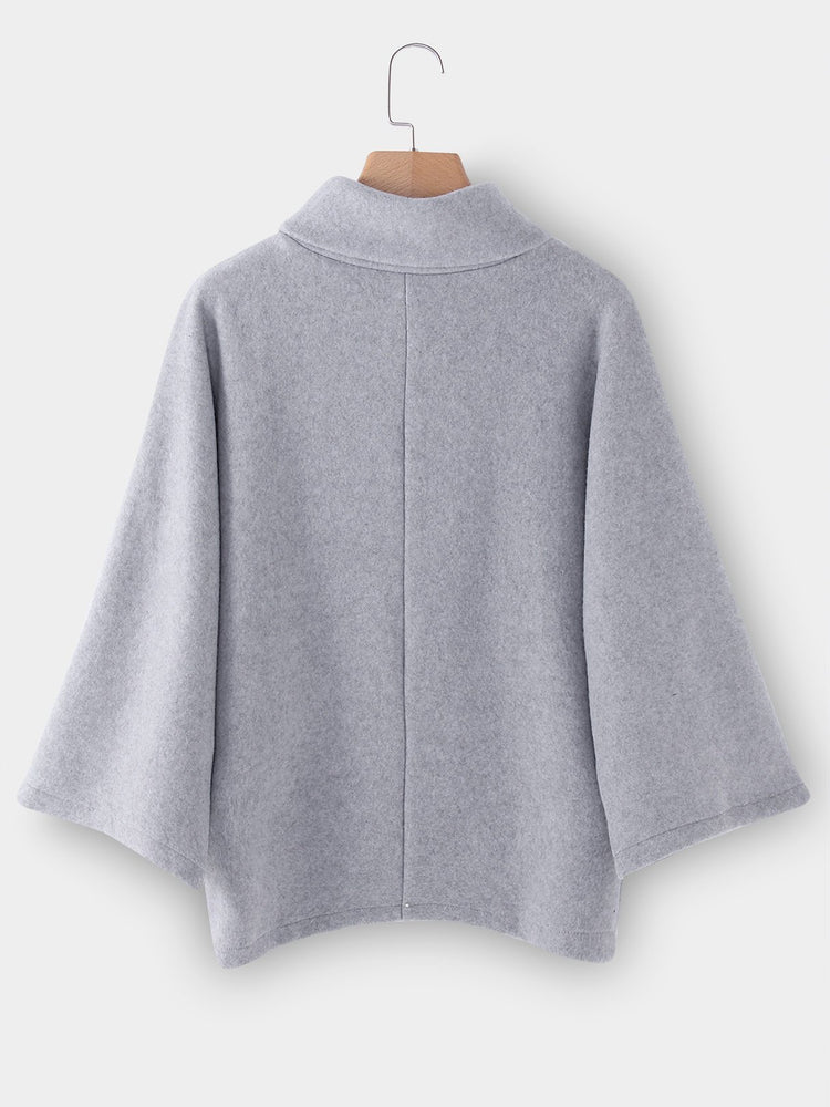 Chimney Collar Flared Sleeves Irregular Hem Sweater Tops