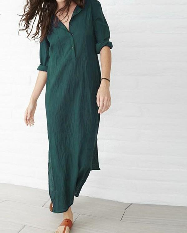 Plus Size Casual Long Sleeve V-Neck Button Split Maxi Dress