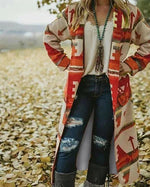 Cotton Tribal Long Sleeve Outerwear Coat