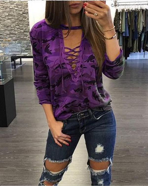Woman Casual V-neck Bandage Long Sleeves Camouflage Tops