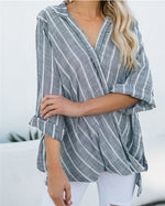 Women Stripe V Neck Long Sleeve Irregular Blouse