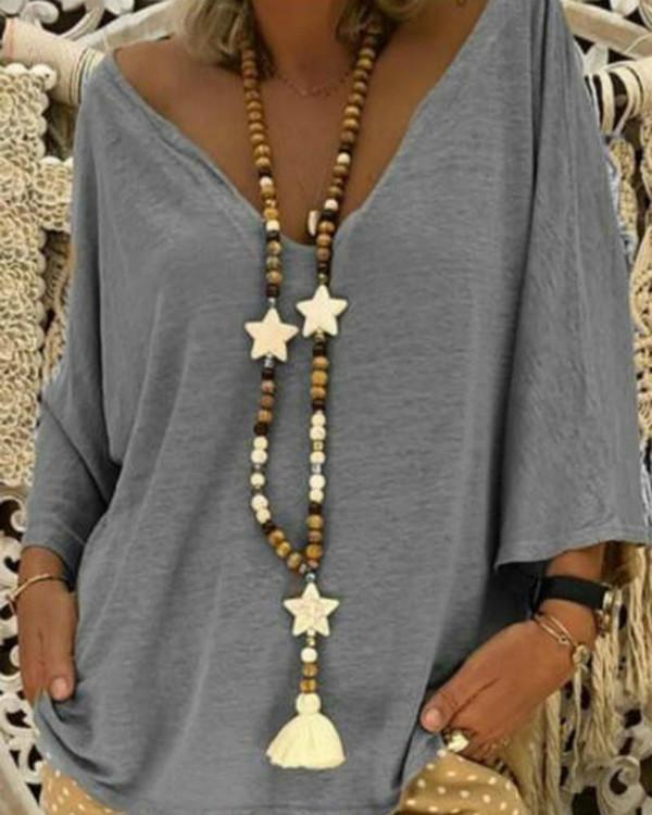 Elegant Cotton Batwing V neck Plus Size Chic Blouse