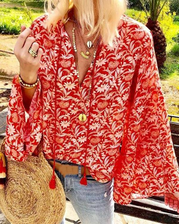 Bohemian Printed V Neck Loose Blouse Top