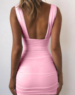 Solid Color Deep V Bodycon Party Sexy Dress