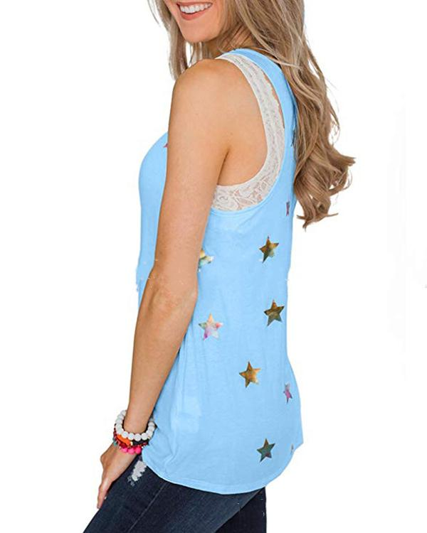 Women Sling Crew Neck Star Printed Sleeveless Casual Vests Tops
