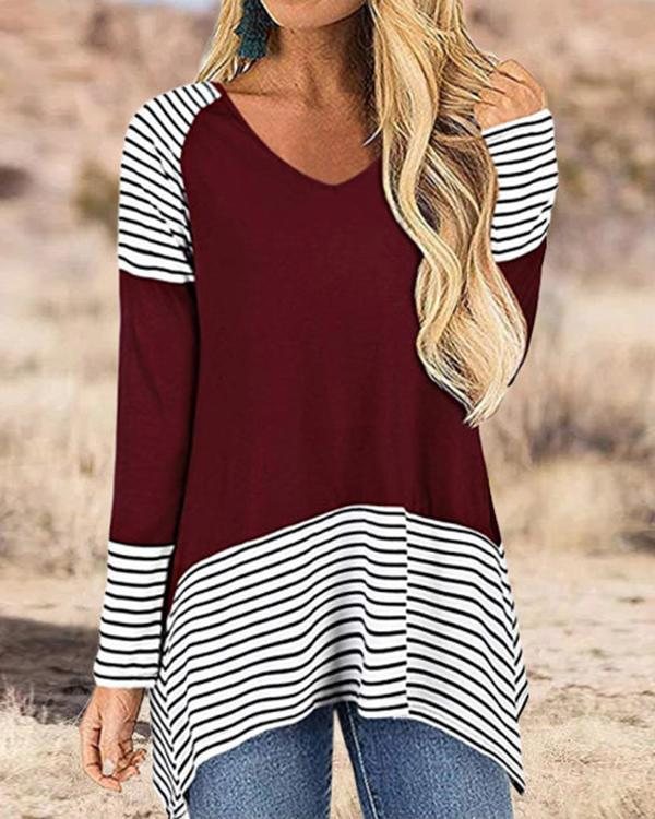 Striped Casual V Neck Women's T-Shirts