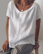 Crew Neck Solid Holiday Summer Women Daily Tops
