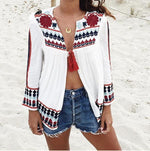 Bohemian Loose Print Long Sleeved Cardigan Blouses Tops