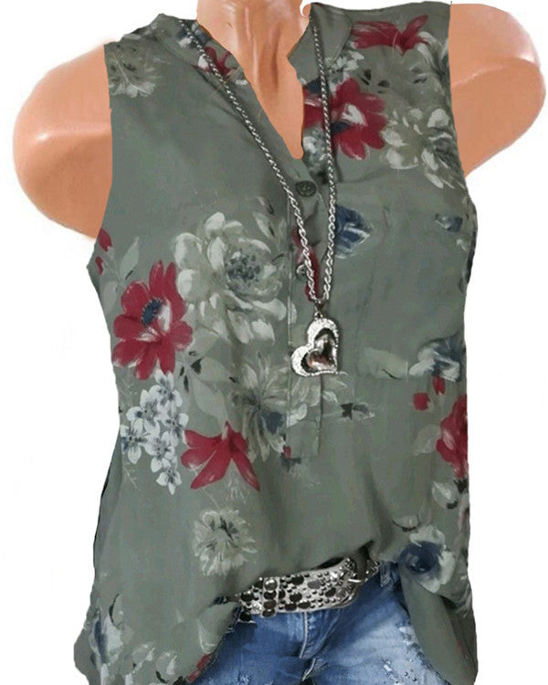 Spring Sleeveless Basic Plus Size Floral Blouses & Shirt Tops