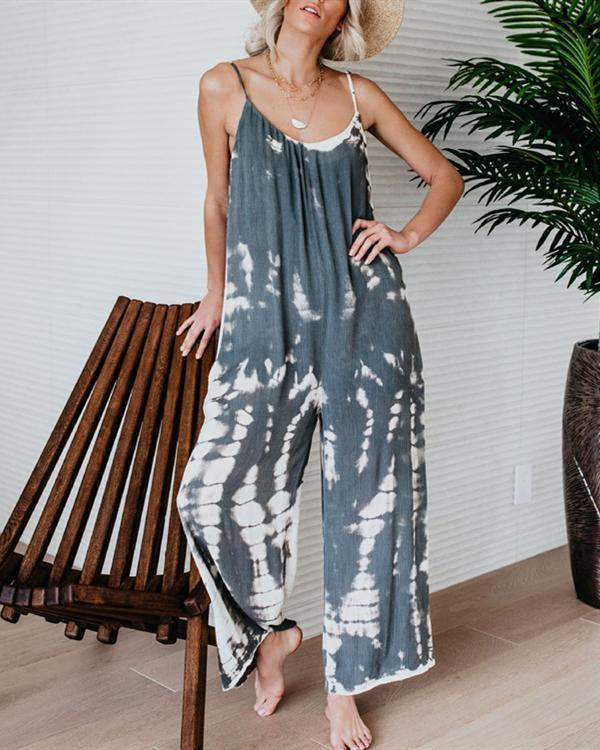 Women Printed Casual Sleeveless Jumpsuit