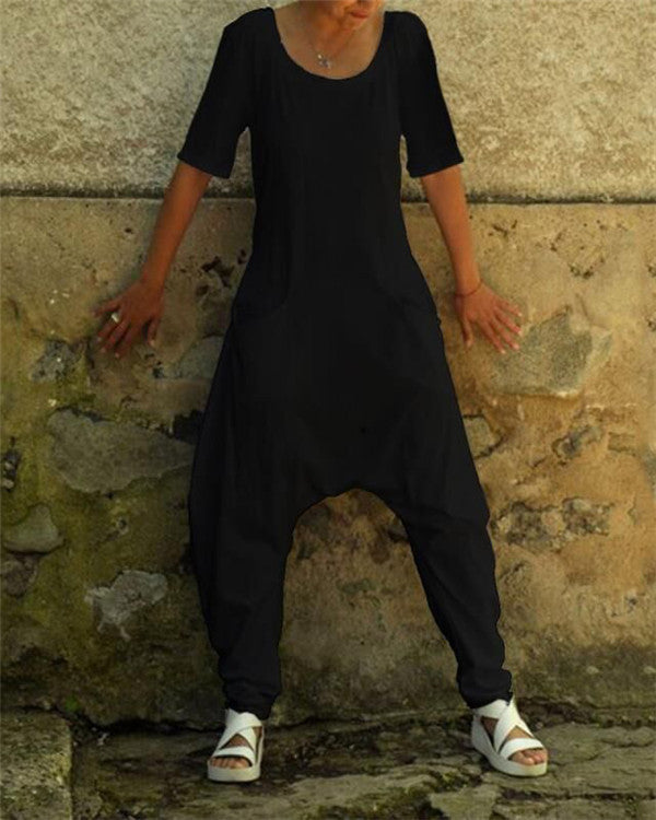 Solid Crew Neck Short Sleeve Jumpsuits