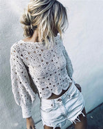 Solid Long Sleeve Lace Casual High Neck Daily Shift Tops