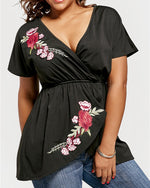 V-Neck Floral Mid-Length Western Summer T-Shirt