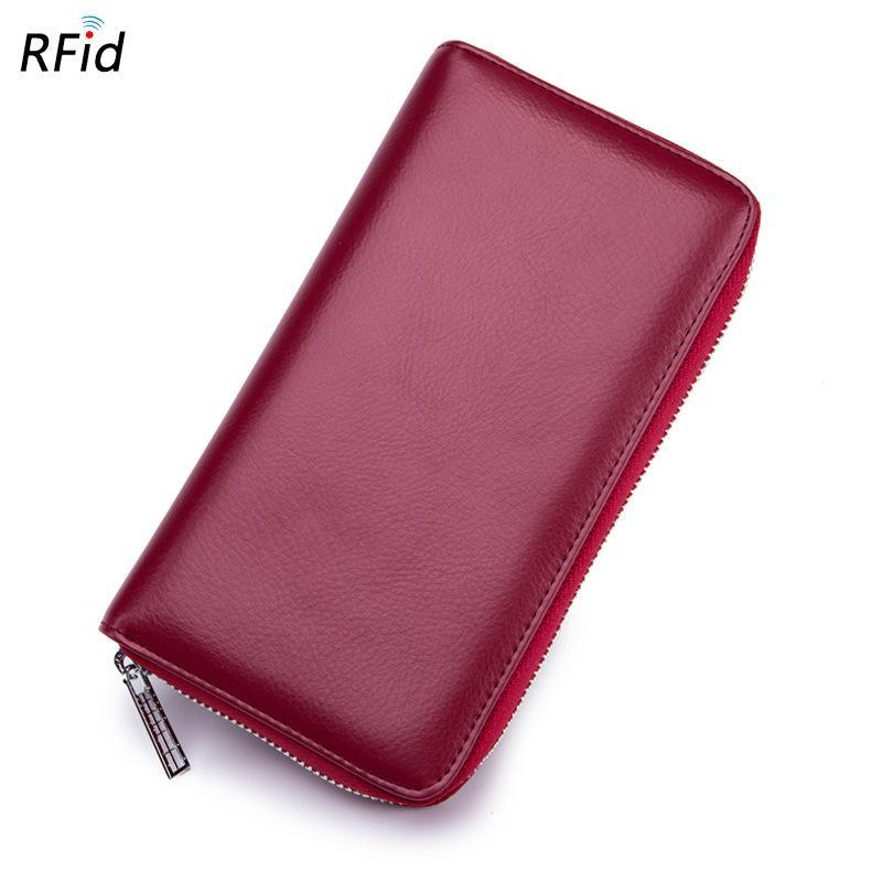 RFID Genuine Leather 36 Card Slots Long Wallet