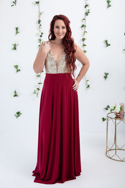 Gold and Burgandy Dress
