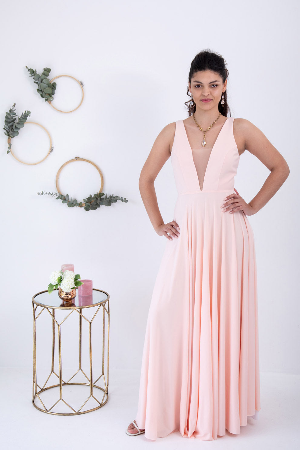 Peach V-Neck Dress