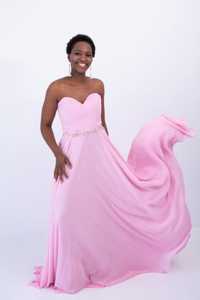 Pink Strapless Chiffon Dress