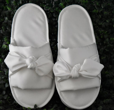 Satin Bow Bridal Slippers