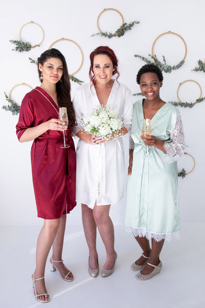 Premium Bridal Dressing Gown With Lace on Hemline