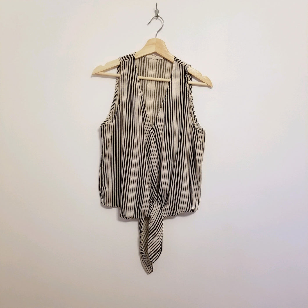 Black striped tie front top