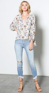 The Vivienne - Off White Floral sheer Blouse