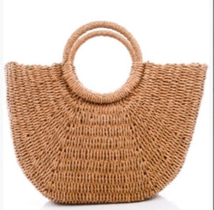The Luna Half Moon Raffia Straw Bag- natural tan oversized half round
